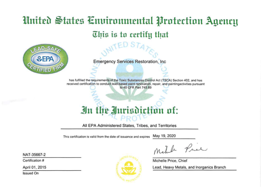 Certification Emergency Services Restoration Inc